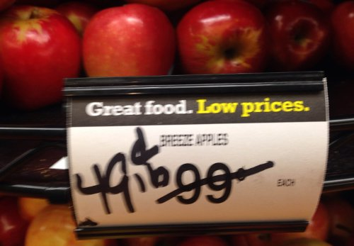 Blurry pic, but great deal! You can't even pick apples at a U-pick orchard for this price any more!